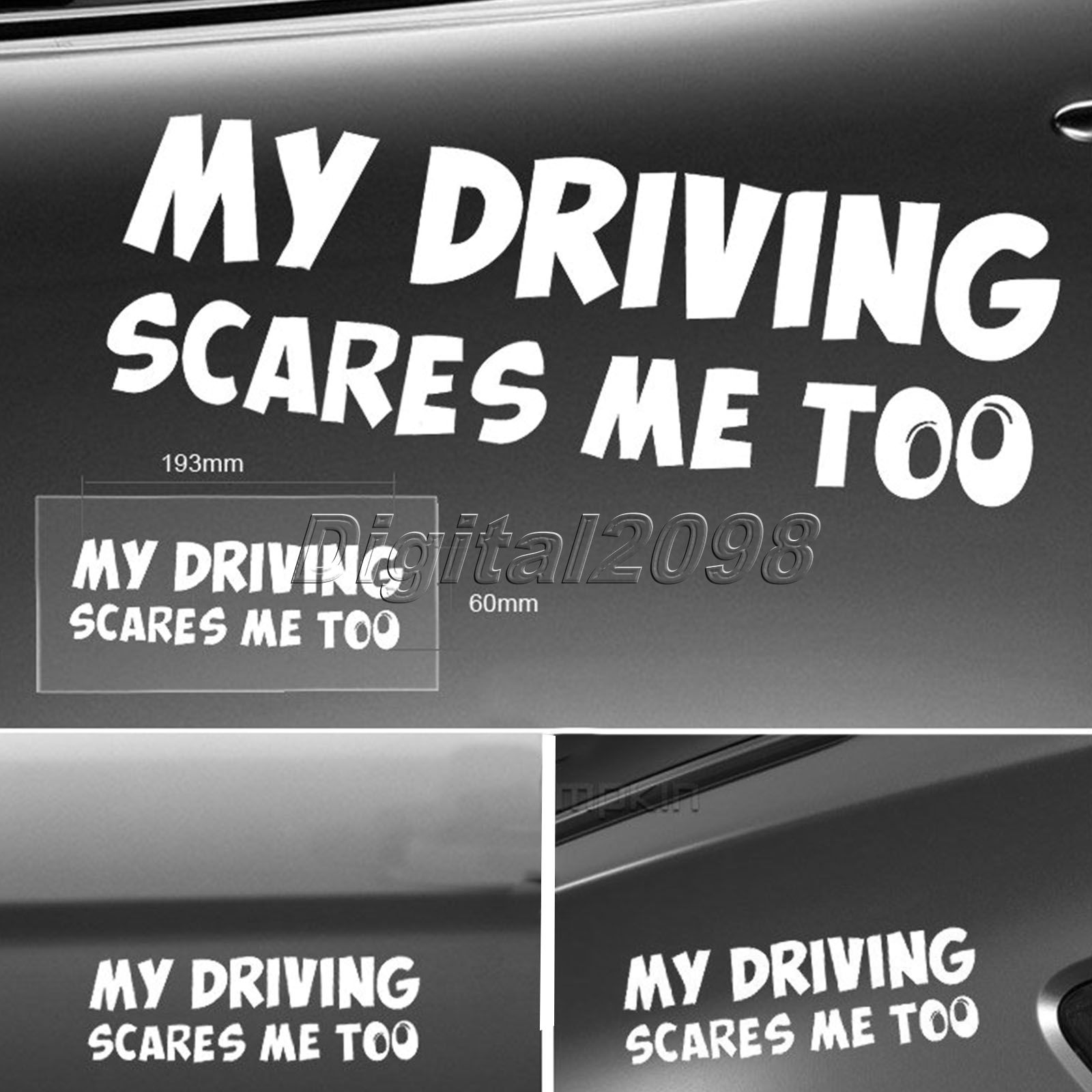 Yetaha 2017 New Funny Car Sticker MY DRIVING SCARES ME TOO ...