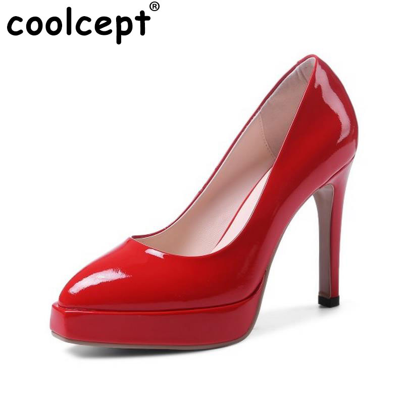 Coolcept Sexy Lady Real Leather High Heel Shoes Women Platform Thin Heels Pumps Party Club Office Lady Footwears Size 34-39 cicime women s heels thin heel spikes heels solid slip on wedding fashion leisure casual party dressing high heel platform pumps