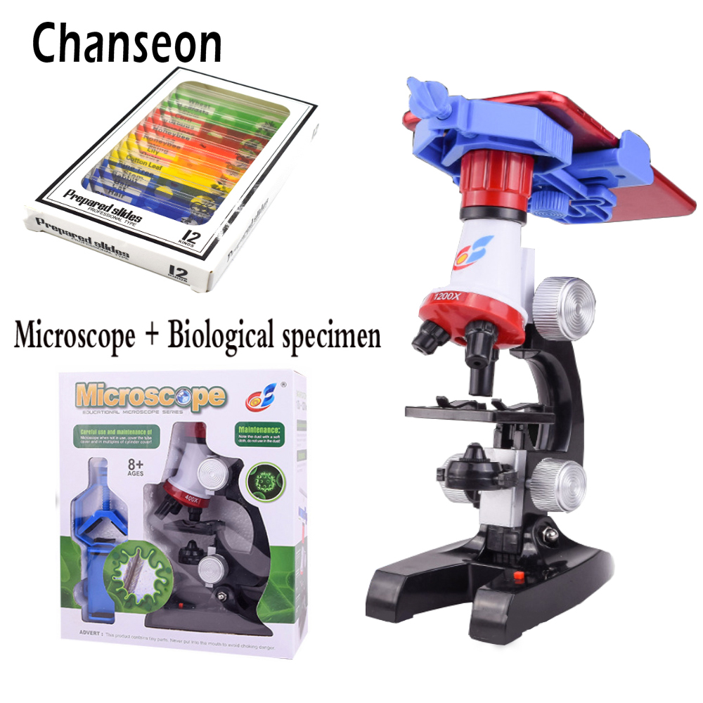 все цены на Microscope Kit Lab With phone holder LED School Science Educational Toy Gift Refined Biological Microscope For Kids Gifts онлайн