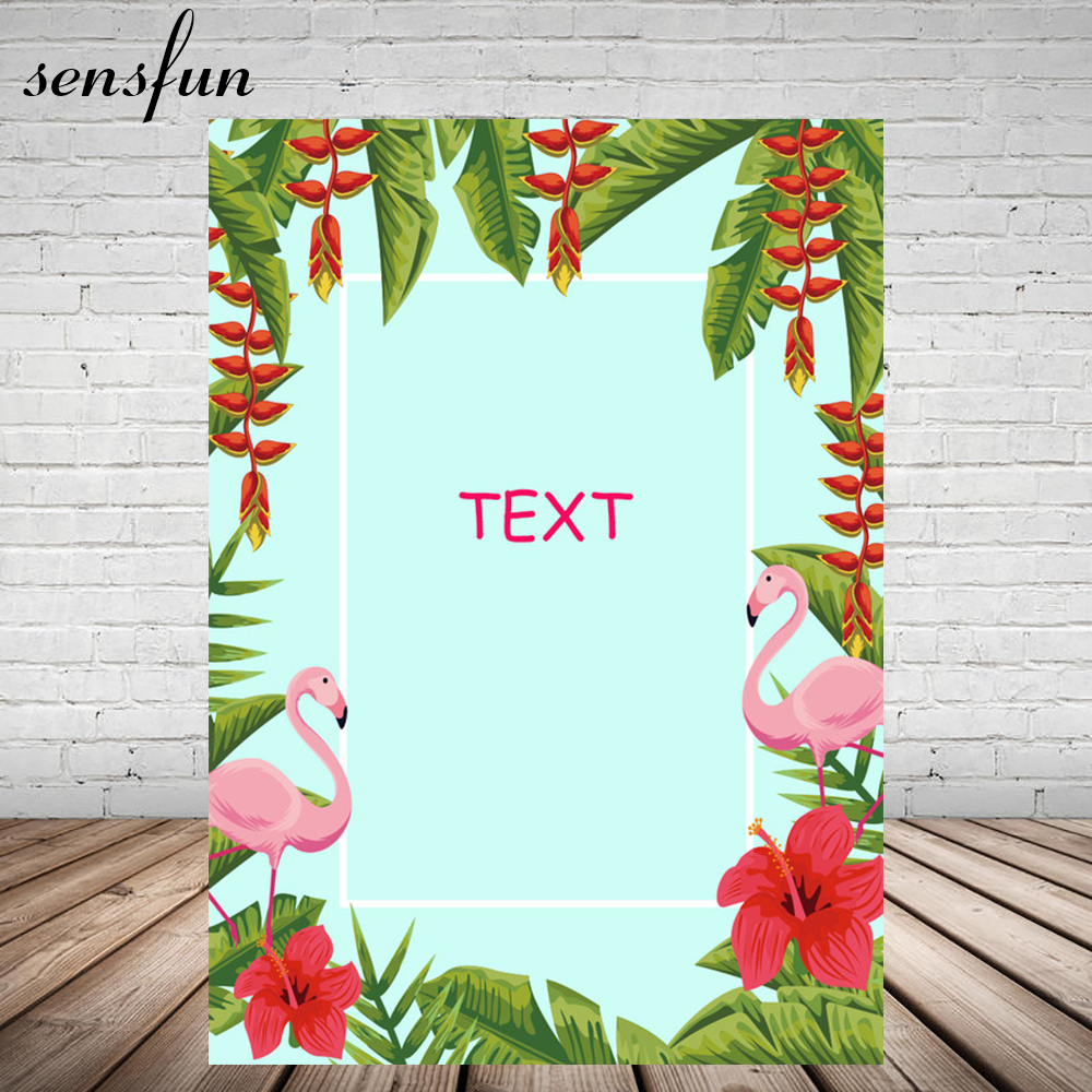 Pink Flamingo Tropical Rainforest Backdrop Red Flower Birthday Party