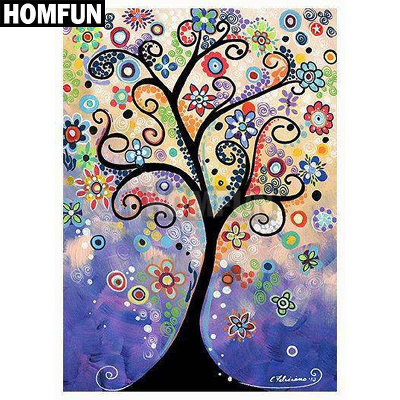 """HOMFUN полный квадратный/круглый дрель 5D DIY алмазная живопись """"Дерево жизни"""" 3D вышивка крестиком 5D домашний Декор подарок A00035"""