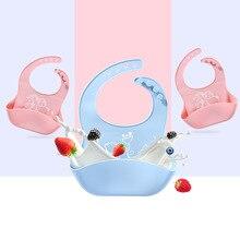 2pcs Non-slip Silicone Bib Baby Waterproof Feeding Tools Childrens Adjustable Mats Cartoon Boy Girl Apron