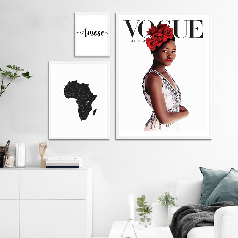 Map Of Africa Canvas Painting Fashion African Black Women Wall Art Print Italian Love Vogue Poster Modern Scandinavian Art Decor