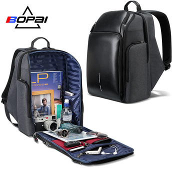 BOPAI University Students School Backpack Stylish Leather Laptop Backpack Waterproof Men Large Branded Backpack Travel Bags