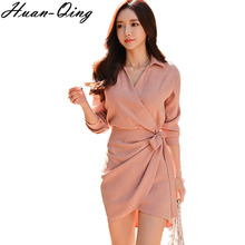 Huan-Qing Office Lady Spring Vintage Lace Up Shirt Dress Long Sleeve Party  Dresses 2cd9e35f1778