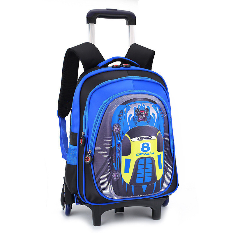 Kids Trolley School Bag for Boys Cartoon Suitcase on Wheels Waterproof Children School B ...
