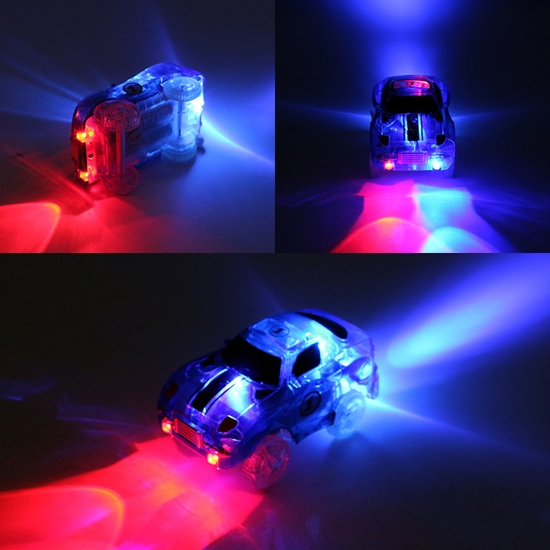 LED Lights Electronics Rail Car Toys For Kid Tracks Parts Car DIY Toy Car Track Accessories Car Flash Fancy Kids Childrens Gift