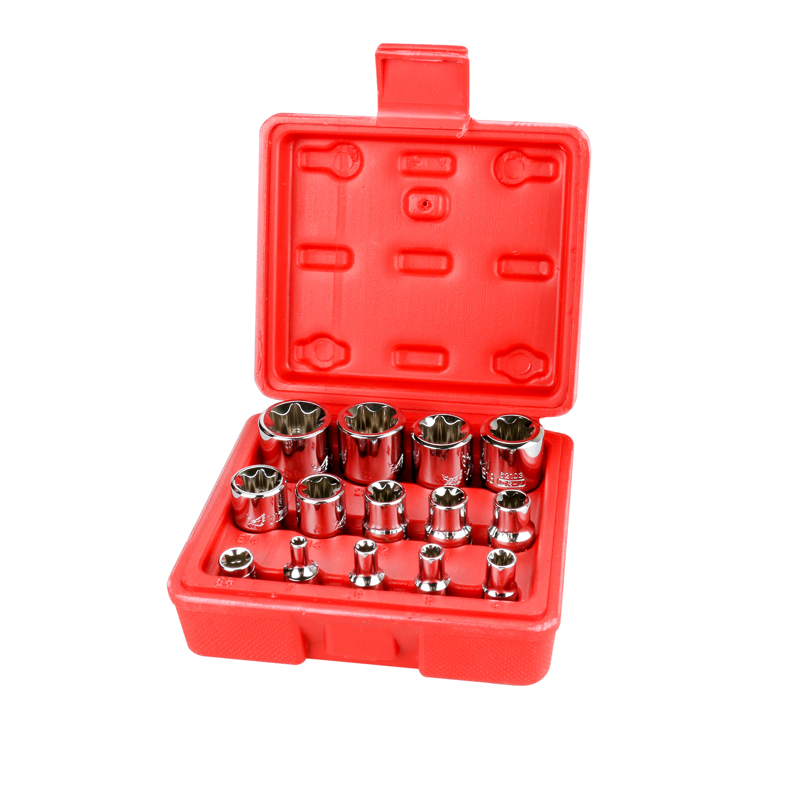 14pcs Torx Socket Star shaped Set 1 4 3 8 1 2 Drive E4 E24 CR