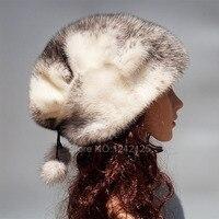 Новый стиль зимние для девочек, женщин реального норки шляпа высокая конец теплый натуральный благородный рисунок из натуральной норки мех