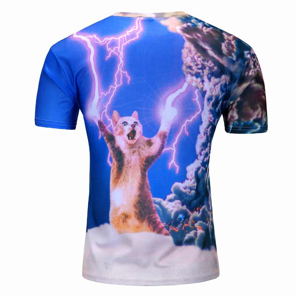 Новинка 2019, футболка с короткими рукавами с 3D принтом, креативная футболка с котом, Мужская футболка с изображением молнии/Новинка/футболка с изображением пиццы, кошки/дерева, топы с изображением Марио M-4XL