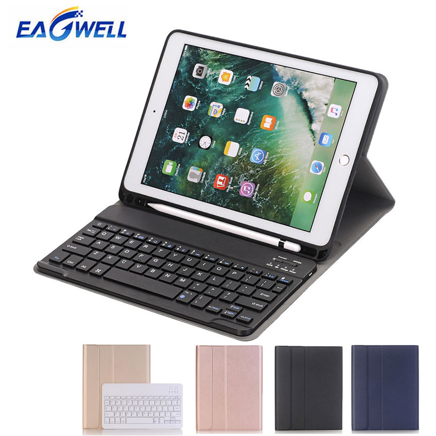 Wireless Bluetooth Keyboard PU Leather Case for New iPad 9.7 inch 2017 2018 for iPad Air Tablet Protective Cover with Keyboard
