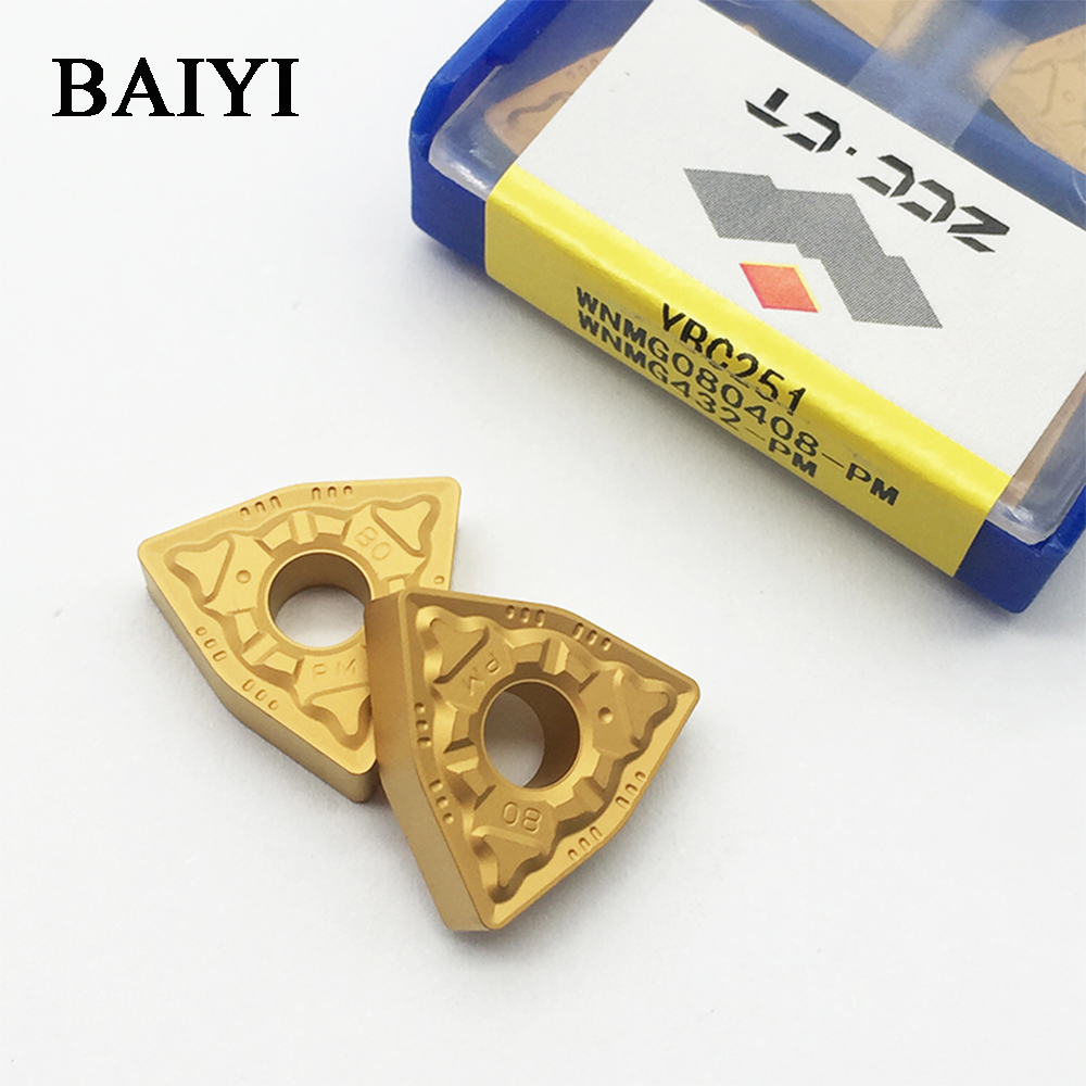 10pcs Insert For Turning Tools WNMG080408-PM WNMG432-PM YBC251 ZCC. CT Carbide Cutting Tool For CNC Part Turning Plate