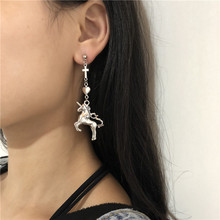Sweet Punk Unicorn Earrings Women Cute Heart Cross Eardrop Hip hop girl jewelry