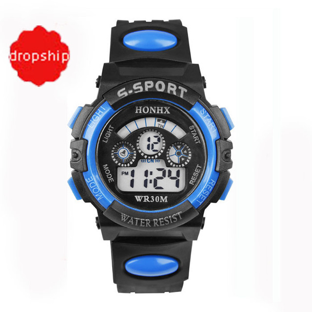 2017 Waterproof Children Boy Digital LED Quartz Alarm Date Sports Wrist Watch dr