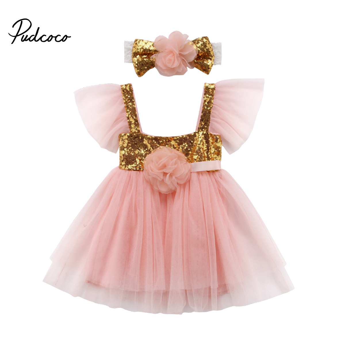 Verano niños vestidos para niñas princesa vestido de lentejuelas ...