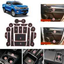 For Toyota Hilux Revo 4 Door 2016 2017 2018 Car Slot Pad Rubber Mat Water Cup Non-slip 18 pieces Auto Accessories
