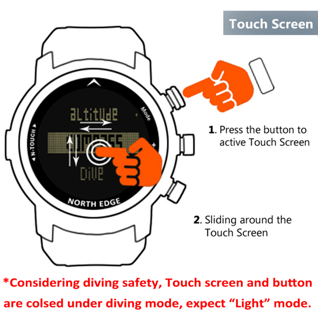 Men Diver Watch Waterproof 100m Smart Digital watch sport military army diving Watch Altimeter Barometer Compass clock NORTHEDGE 2