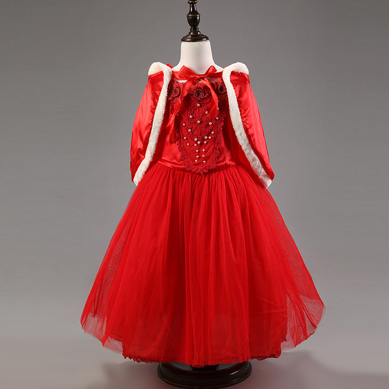 New Girls Snow White Princess Dresses Kids Girls Halloween Party Christmas Cosplay Ball Gown Costume Children Girl Clothing Red