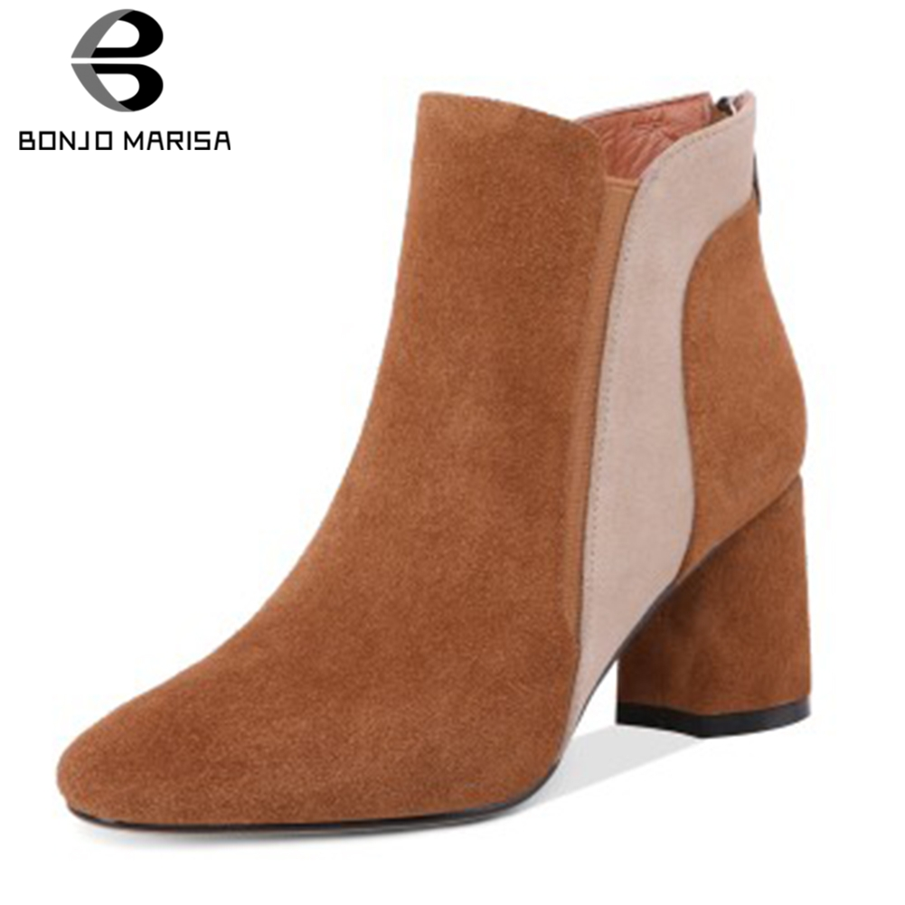 BONJOMARISA New Arrivals Cow Suede Hot Sale Ankle Boots Woman Shoes Zip Up Chunky High Heels 3 Colors Shoes Woman Boots FemaleBONJOMARISA New Arrivals Cow Suede Hot Sale Ankle Boots Woman Shoes Zip Up Chunky High Heels 3 Colors Shoes Woman Boots Female
