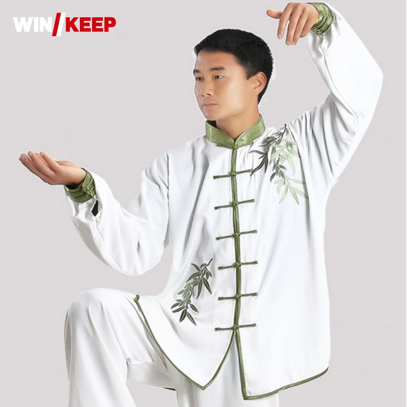 Spring Summer New Wing Chun Kung Fu Clothing For Men Embroidery Floral Loose Fit Roupas Wu Shu Tai Ji Costume Male Sport Sets new arrival wing chun butterfly knives bart cham dao wing chun swords with free shipping butterfly carving on handle with bag