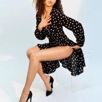 Women violette black & white spot polka dot print long sleeve deep v neckline 3/4 mid length sexy retro silk wrap dress