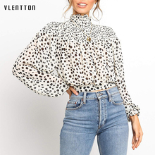 2019 Sexy Chiffon Leopard Short Women Blouses Top Elegant Turtleneck Long sleeve Lace up White Blouse Shirt Blusas Camisas Mujer