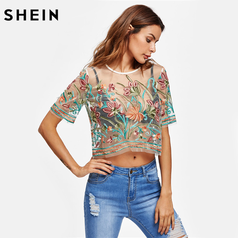 5c3f4359f4 SHEIN Sexy Blouses for Women Buttoned Keyhole Botanical Embroidered Mesh Top  Summer Multicolor Short Sleeve Blouse-in Blouses & Shirts from Women's  Clothing ...