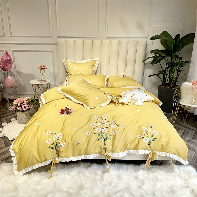 Luxury Egypt Cotton Romantic fragrance Bedding Set Embroidery Ruffles Duvet Cover Sets Bed Sheet Queen King