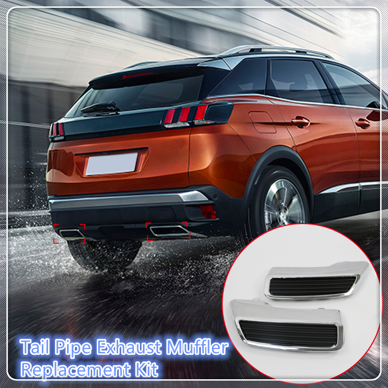 For Peugeot 3008 5008 Allure 2017 2018 Car Tail End Pipe Exhaust Muffler Cover Trim 2PCS Car Styling Auto Replacement Kit for peugeot 3008 5008 2017 2pcs set rear exhaust muffler pipe cover trim decoration