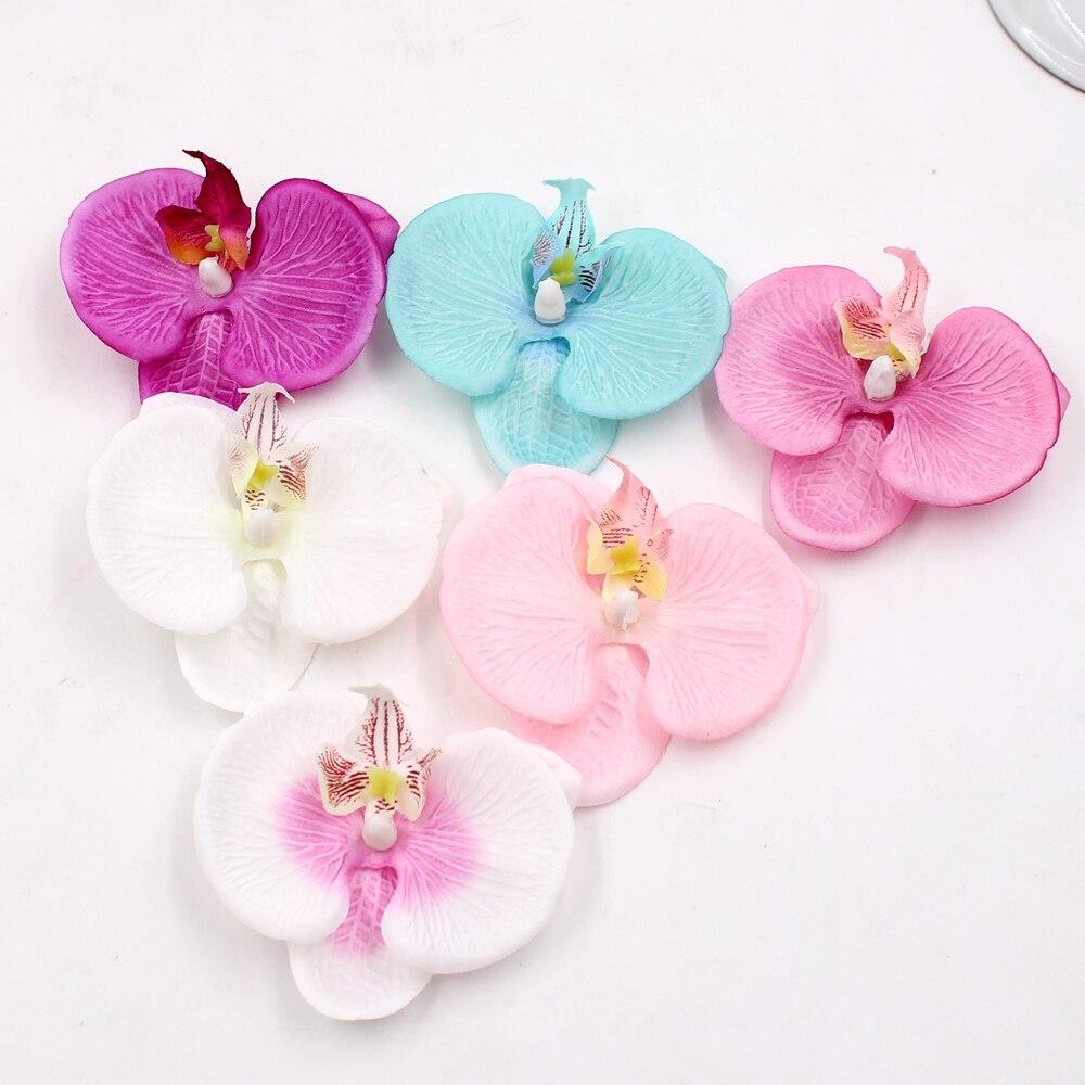 10pcs high quality Silk Butterfly Orchid Artificial Flower Head For Wedding Car Home Decoration DIY Flores Cymbidium Handmade