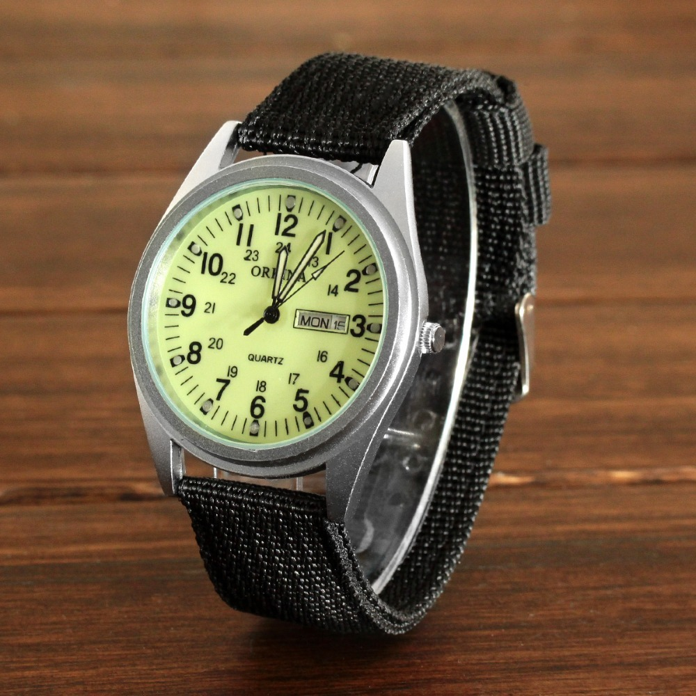 aliexpress com buy orkina p1012 men s military style double aliexpress com buy orkina p1012 men s military style double calendar watches arabic numerals dial luminous green black from reliable watch video on