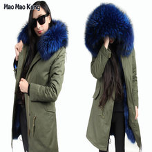 2019 new long Army green winter jacket coat women parka natural large Raccoon Dog Fur Collar hooded Thick Warm fox Fur liner(China)