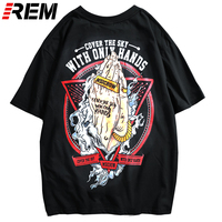REM Hip Hop Japan Style T shirts Short Sleeve Tees for Men Outdoor Travel Tees 2019 Graphic Tees Men Funny T Shirts Skateboard