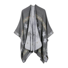 TOLINA Medieval retro style Women Knitted Cashmere Poncho Capes Shawl Cardigans