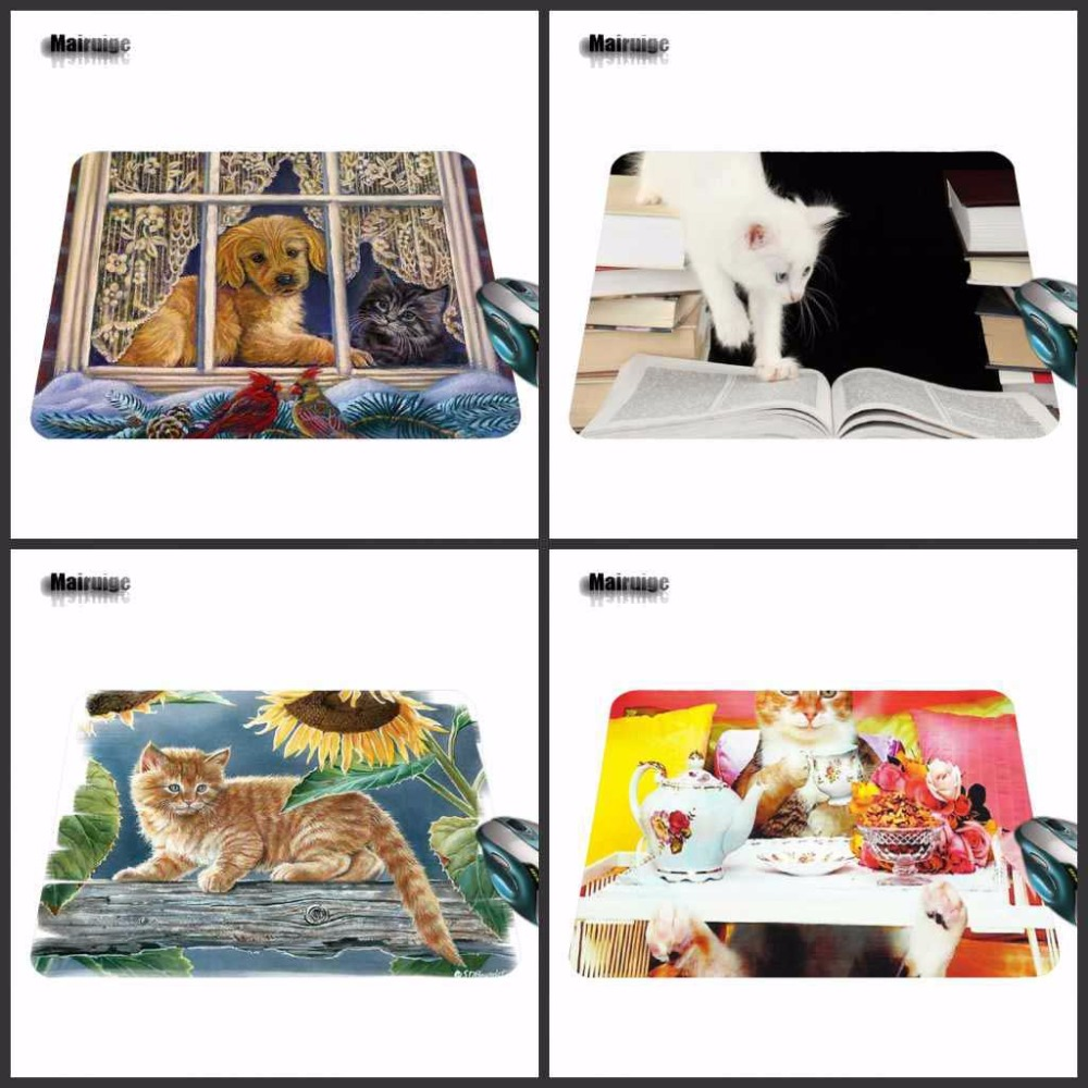 Mairuige Hot 2018 Cats Mouse Pad Fashion Computer Notebook Gaming Mice Mat 18*22cm and 25*29cm No Lock Mouse Pads