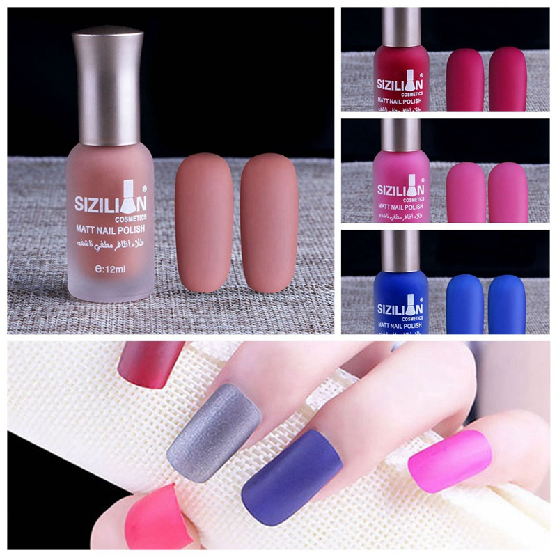 20 Colors Fashion Satin Frosted Bottle Long Lasting Nail Art Varnish ...