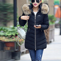 2016 Winter New Fahsion Women Medium Length Slim Hooded Thicken Warm Solid Color Causal  Down Coat