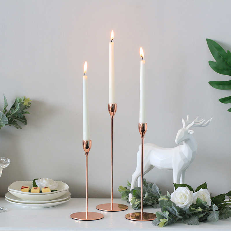 Simple metal candlestick plating rose gold romantic wedding decoration candlestick bar Christmas home decoration candlestick