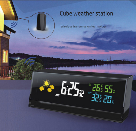 High-grade home decoration Weather Alarm Clock LED Digital Wireless Weather Station Report Inside Outside Humidity Temperature