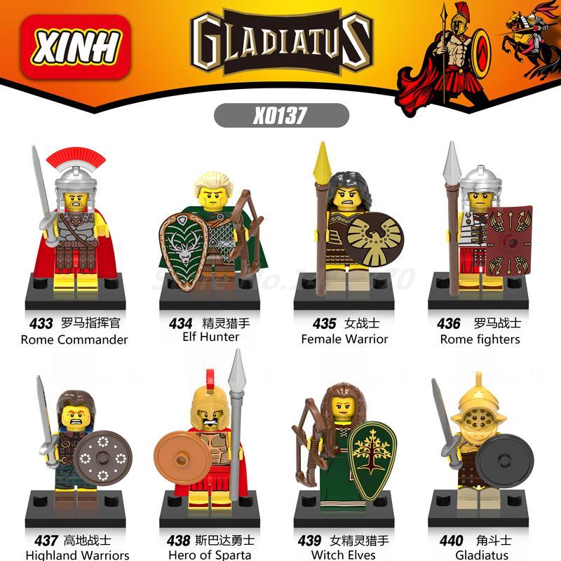 Wholesale Gladiatus Figures 100pcs/set Medieval Knights Rome Fighters Hero of Sparta Female Warrior Building Blocks Toys