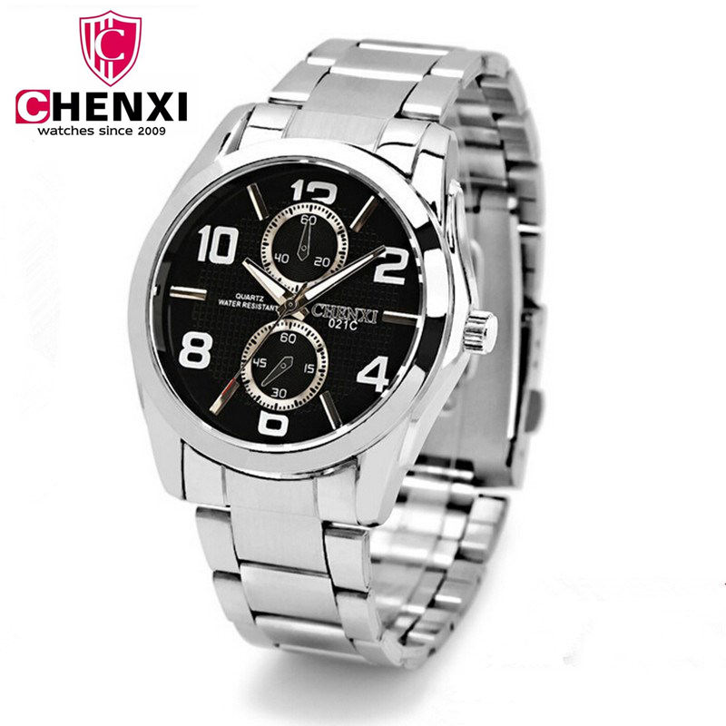CHENXI Men Watch Life Waterproof Fashion Men Steel Bracelet Watches Big Dial Silver Strap Watchband Wristwatch Male Gift NATATE