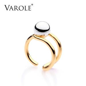 Image 1 - VAROLE moda podwójna linia Knotting Midi pierścienie dla kobiet złoty kolor srebrny 100% miedzi Anillos pierścień biżuteria Bagues Mujer Anel