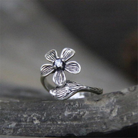 925 Sterling Silver Vintage Flower Open Rings For Women Chinese Style Lady Antique Silver Ring Sterling
