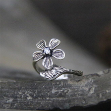 925 Sterling Silver Vintage Flower Open Rings For Women Chinese Style Lady Antique Ring Sterling-silver-jewelry