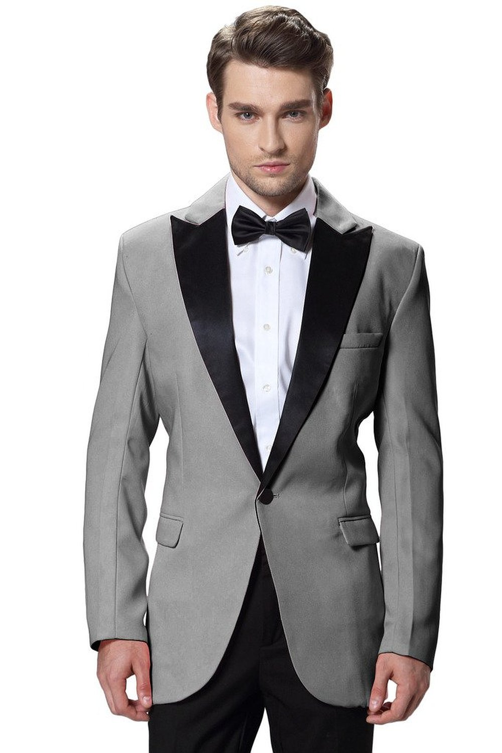 New Gray Jacket Black Pants Groom Tuxedos High Quality Men Suits For Wedding Business Wear In From Mens Clothing Accessories On