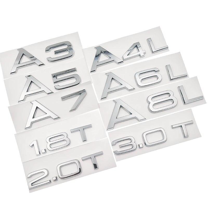 1,8 T 2,0 T 3,0 T A3 A5 A7 A4L A6L A8L Хромовая эмблема с буквенным номером, значок для багажника, объемный задний стикер с логотипом
