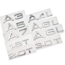 Capacidade de descarga do porta-malas automotivo, 1.8t 2.0t 3.0t a3 a5 a7 a4l a6l a8l, emblema de carta, capacidade de descarga logotipo do emblema 3d adesivo traseiro