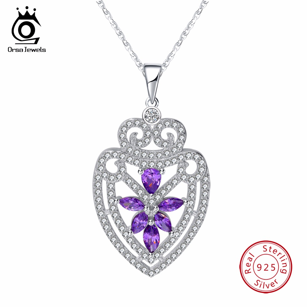ORSA JEWELS Silver Sterling Solid Necklace Pendant Water Drop Shape With Chain Purple CZ Shiny Party