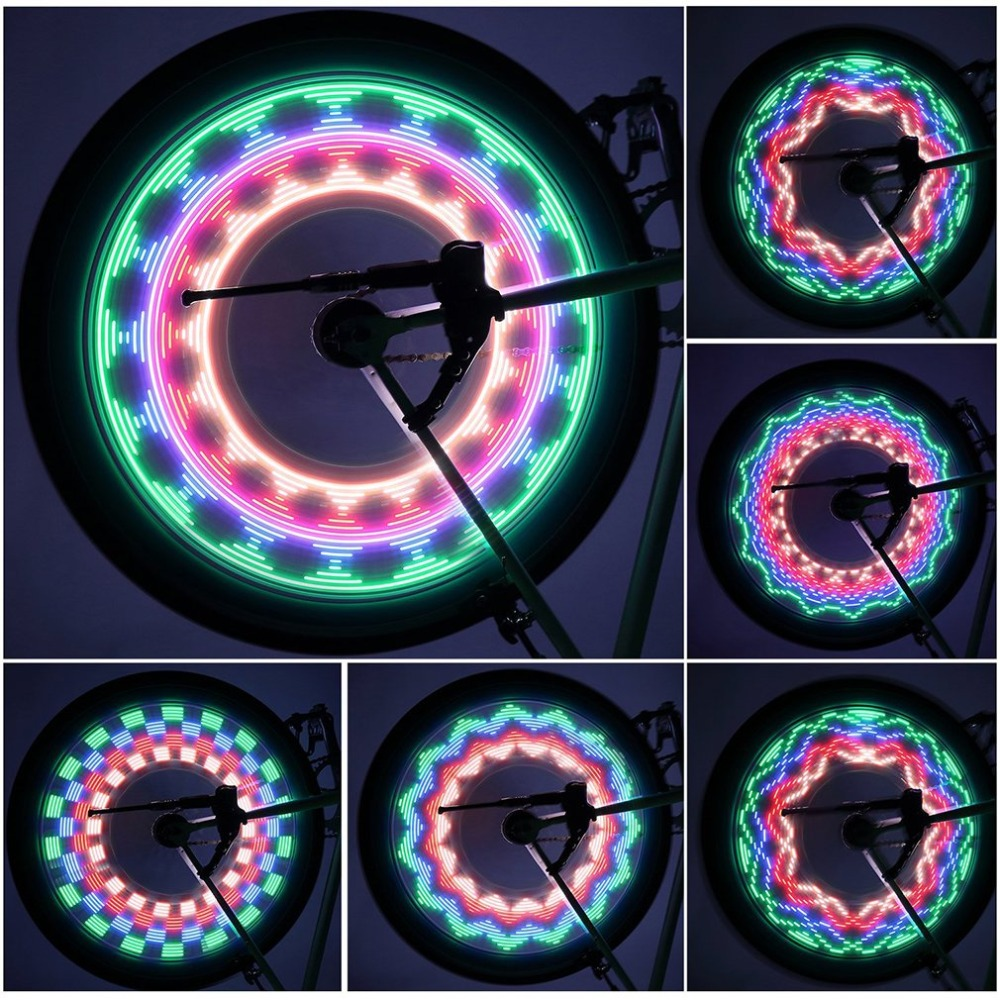 2 Side 32 LED 32 Mode Night Waterproof Wheel Lamp Reflective Bicycle Rim Rainbow Tire Warn Light Bike Accessories ...
