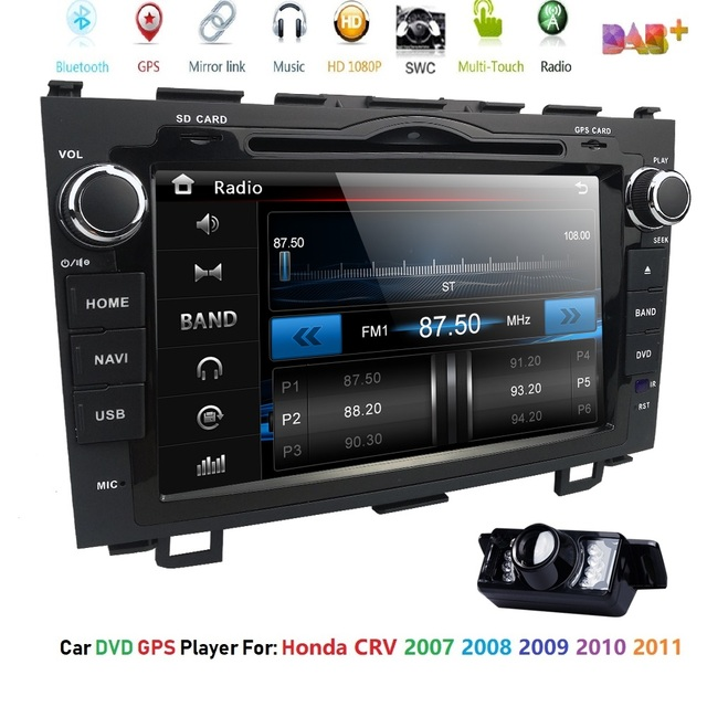 "for HONDA CRV 2007-2011 GPS Navigation 8"" 2 din car monitor Bluetooth RDS Radio Steering Wheel Control USB Subwoofer AUX CAM-IN"